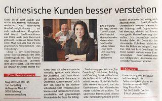 """Presseartikel der Salzburger Wirtschaft – """"Chinesische Kunden besser verstehen"""""""